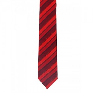Tossido Red Woven Striped Slim Tie