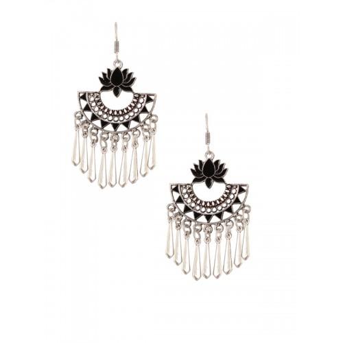 b57f57688f4 ... Rubans Oxidised Silver Toned Black Enamel Lotus Boho Drop Earrings ...