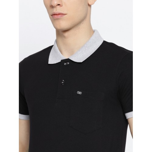 Cloak & Decker by Monte Carlo Men Black Solid Polo Collar T-shirt