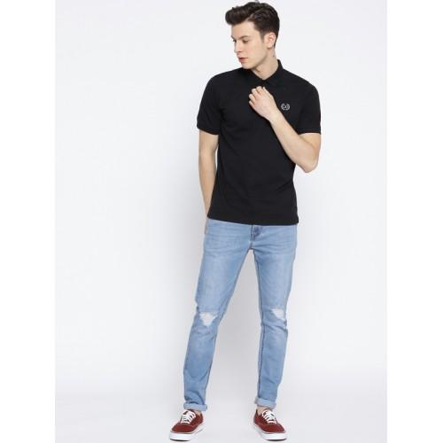 Cloak & Decker by Monte Carlo Men Black Solid Polo Collar T-shirt