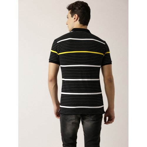 United Colors of Benetton Black Striped Regular Fit Polo T-Shirt