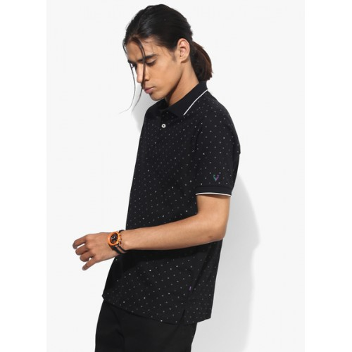 Allen Solly Black Printed Regular Fit Polo T-Shirt