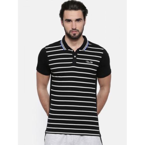 Proline Men Black Striped Polo Collar T-shirt