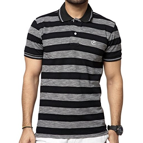 4066b850d ... ZEYO Classic Polo T Shirts for Men with Collar Striped Regular Fit  Black Half Sleeve ...