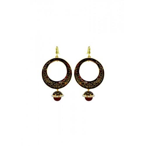Buy Mk Jewellers Rajasthani Red Meenakari Big Bali Earrings Online