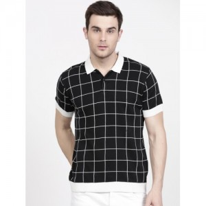 Ether Black Checked Polo T-Shirt