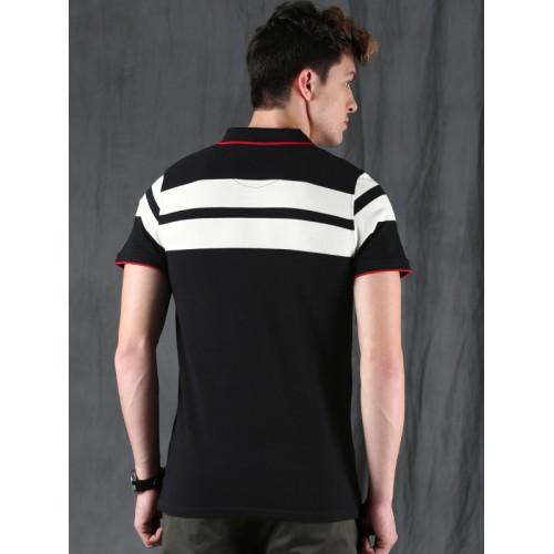 WROGN Men Black Slim Fit Solid Polo Collar T-shirt