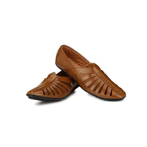 REVOKE from Walktoe Ethnic Faux Leather Fancy Tan Brown Mojari