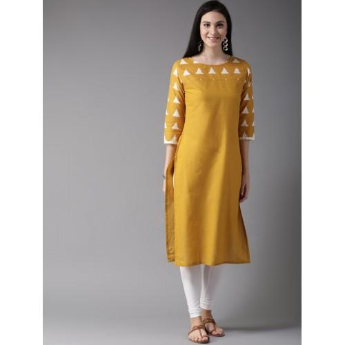 HERE&NOW Mustard Yellow Self Pattern Straight Kurta