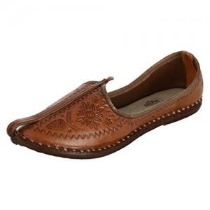 Krafto Men's Imprinted Oak Leather Jodhpuri Mojaris