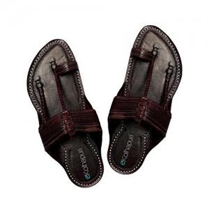eKolhapuri Handmade Dark Brown Leather Kolhapuri Chappal for Men
