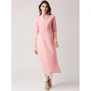 Libas Women's Solid Straight Kurta(Pink)
