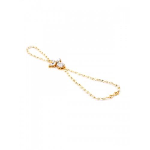Rubans Gold-Toned & White Metal Gold-Plated Ring Bracelet