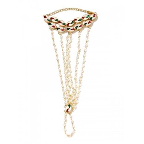 Rubans Gold-Toned & White Embellished & Enamelled Reversible Ring Bracelet