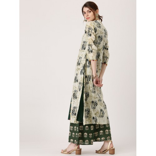 Libas Green Printed Jacket Style Kurta