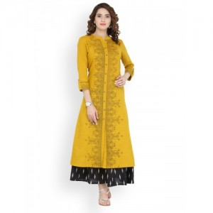 Varanga Yellow Printed Cotton Kurta