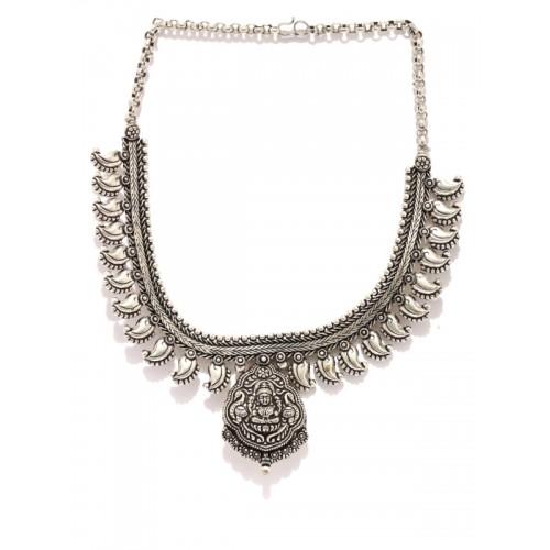 Rubans Oxidised Silver-Plated Kohlapuri Necklace