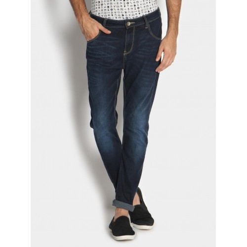 Buy United Colors of Benetton Men Dark Blue Carrot Fit Jeans online