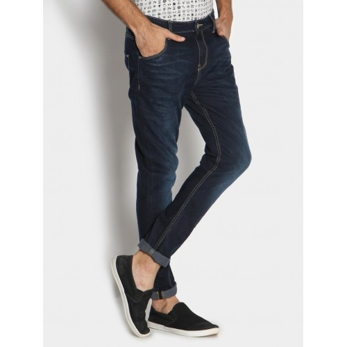 Denims Jeans United Colors of Benetton Men Dark Blue Carrot Fit Jeans