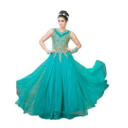 Buy Justkartit Women s Soft Net Turquoise Semi-Stitched Gown online ... 4c813fdc1