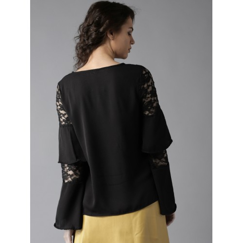 HERE&NOW Women Black Solid Top with Lace Detail
