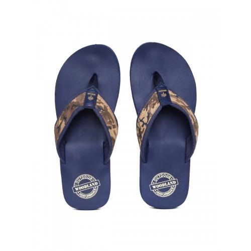 000f6d477d31 Buy Woodland Men Brown   Navy Blue Printed Thong Flip-Flops online ...