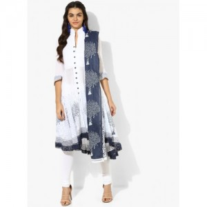 Biba White & Blue Cotton Solid Churidar Kameez Dupatta