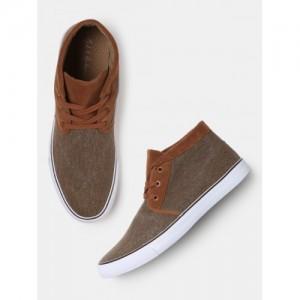 Mast & Harbour Men Brown Solid Canvas Mid-Top Sneakers