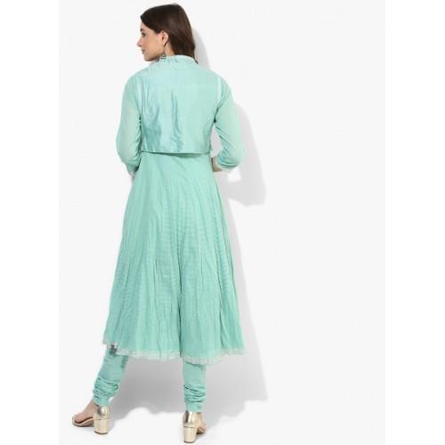 Biba Green Cotton Silk Solid Kurta Chiridar Dupatta With Ethnic Jacket