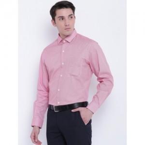 Wills Lifestyle Men Red Regular Fit Printed Formal Shirt