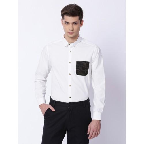 13a8c74e48 Buy THE BEAR HOUSE Men White   Black Slim Fit Solid Semiformal Shirt ...