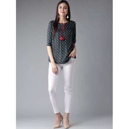 HERE&NOW Women Charcoal Grey Printed Top