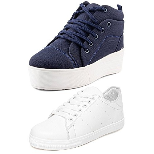 Clymb Perfect Combo Pack of 2 Premium Blue White Sneaker Shoes for Women