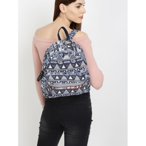 9c08a893173 ... Ginger by Lifestyle Women Navy Blue & White Geometric Backpack ...