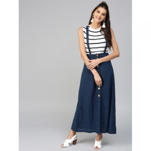 SASSAFRAS Navy Blue Maxi Skirt with Suspenders