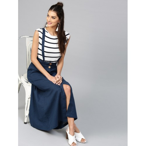 SASSAFRAS Navy Blue Maxi Skirt with Suspenders