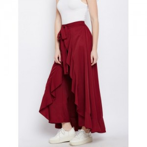 Berrylush Maroon Solid  Ruffled Wrap Maxi Skirt with Attached Trousers