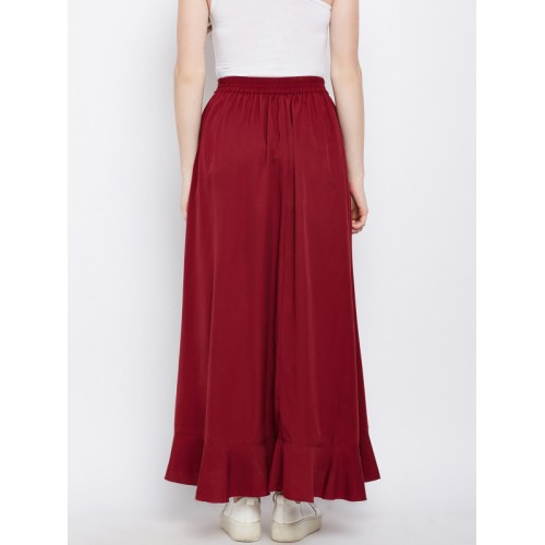f6a5f2dd8ef ... Berrylush Maroon Solid Ruffled Wrap Maxi Skirt with Attached Trousers  ...