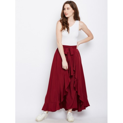 ca6c1ca9996 Berrylush Maroon Solid Ruffled Wrap Maxi Skirt with Attached Trousers ...