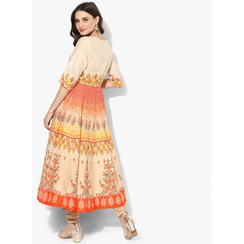 Biba Multicoloured Cotton Printed Churidar Kameez Dupatta