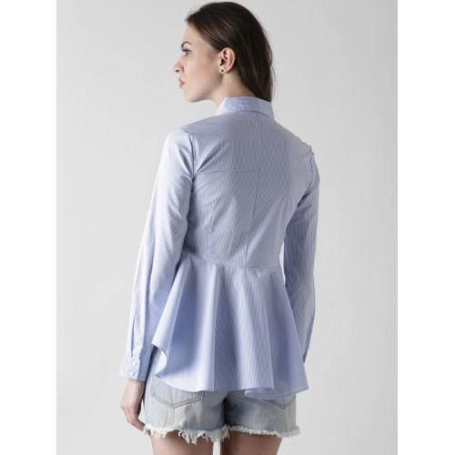 FOREVER 21 Women Blue & White Striped High-Low Peplum Shirt