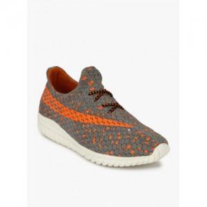 Mactree Men Grey Printed Textile Mid-Top Sneakers