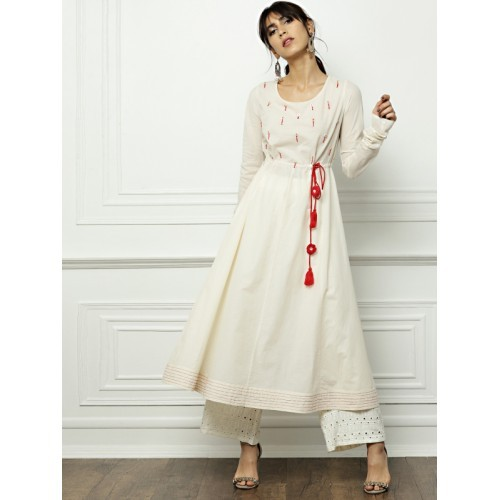 All About You Cream Cotton Solid A-Line Kurta