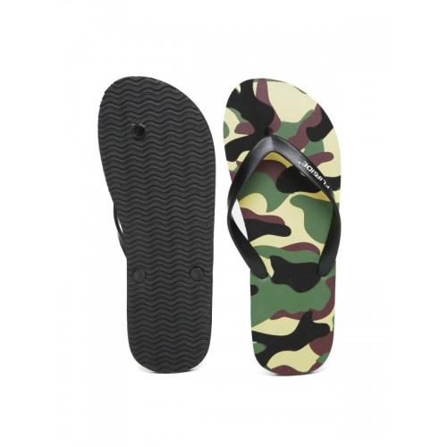 Flipside Men Black Camouflage Print Flip-Flops