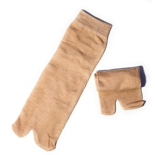 Cotson 5 Pair Women's Plain Cotton Ankle Length Winter Thumb Socks (Fawn Color)
