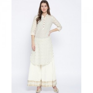 Rangriti Off-White Printed Straight Kurta