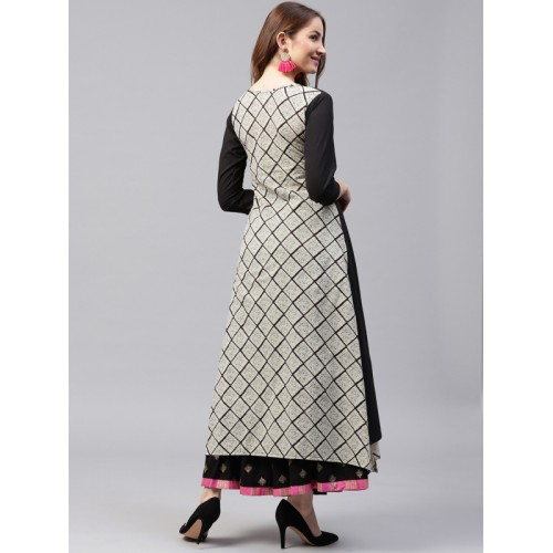 Nayo Black Printed Layered A-Line Kurta