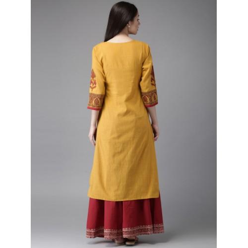 Moda Rapido  Women Mustard Yellow Printed A-Line Kurta