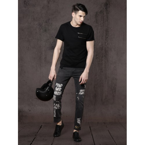 Roadster Black Skinny Fit Mid-Rise Printed Stretchable Jeans
