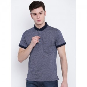 Fort Collins Men Navy Blue Solid Polo Collar T-shirt